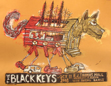 THE BLACK KEYS - 2008 - AKRON - OHIO  - EJ THOMAS HALL - DAN GRZECA - TOUR POSTER