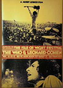 LEONARD COHEN - THE WHO - ISLE OF WIGHT - 2010 - RON DONOVAN - POSTER - RED VIC