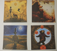 GRIN & BEAR IT - BLOTTER PRINTS - RICHARD BIFFLE - SOY BASED INK - SET OF 4 SIGNED & NUMBERED - GRATEFUL DEAD