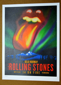 ROLLING STONES - 14 ON FIRE - OSLO - NORWAY - #442/500 - POSTER - JAGGER - RICHARDS