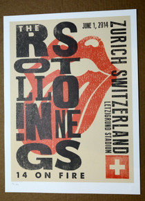 ROLLING STONES - 14 ON FIRE - LETZIGRUND STADIUM - ZURICH - #442/500 - TOUR POSTER