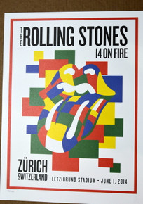 ROLLING STONES - 14 ON FIRE - LETZIGRUND STADIUM - ZURICH - #396/500 - POSTER - KEITH RICHARDS