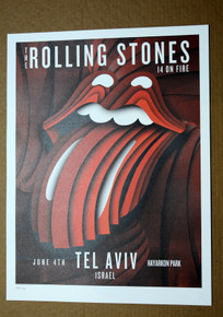 ROLLING STONES - 14 ON FIRE - TEL AVIV - ISRAEL - #442/500 -  TOUR POSTER
