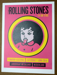 ROLLING STONES - 14 ON FIRE - PINK POP FESTINAL - NETHERLANDS -  TOUR POSTER - KEITH RICHARDS