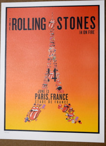 ROLLING STONES - 14 ON FIRE - PARIS - FRANCE -  TOUR POSTER - KEITH RICHARDS