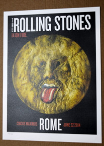 ROLLING STONES - 14 ON FIRE -  CIRCUS MAXIMUS - ROME  -  TOUR POSTER