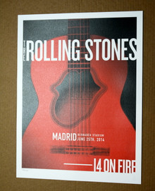 THE ROLLING STONES - 14 ON FIRE -  BERNABEU STADIUM - MADRID - TOUR  POSTER