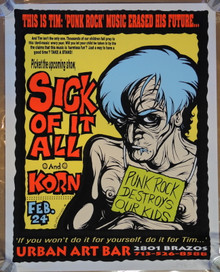 KORN - SICK OF IT ALL - URBAN ART BAR - 1995 - JERMAINE ROGERS - ARTIST PROOF - POSTER