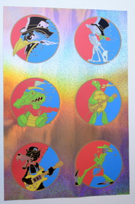 DEAD AND COMPANY - RICHARD BIFFLE - STEPPIN' OUT UNCUT HANDBILL SET - SPARKLE FOIL - GRATEFUL DEAD