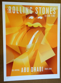 ROLLING STONES - 14 ON FIRE - 2014 - ABU DHABI - TOUR POSTER - KEITH RICHARDS - MICK JAGGER