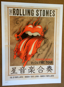 ROLLING STONES - 14 ON FIRE - 2014 - TOKYO - JAPAN - TOUR POSTER - KEITH RICHARDS - MICK JAGGER