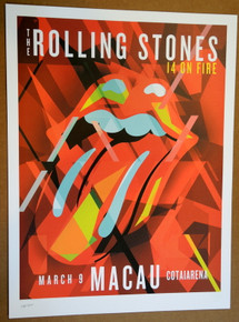 ROLLING STONES - 14 ON FIRE - 2014 - COTAI ARENA - MACAU - TOUR POSTER - KEITH RICHARDS - MICK JAGGER