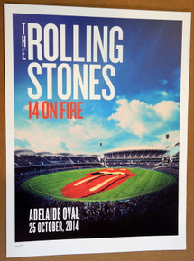 ROLLING STONES - 14 ON FIRE - 2014 - ADELAIDE - AUSTRALIA - #88/300 - TOUR POSTER - KEITH RICHARDS - MICK JAGGER