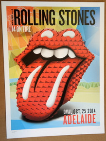 ROLLING STONES - 14 ON FIRE - 2014 - ADELAIDE OVAL - AUSTRALIA - #88/300 - TOUR POSTER - KEITH RICHARDS - MICK JAGGER
