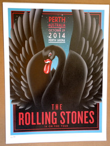 ROLLING STONES - 14 ON FIRE - 2014 - PERTH - AUSTRALIA - #214/300 - TOUR POSTER - KEITH RICHARDS - MICK JAGGER
