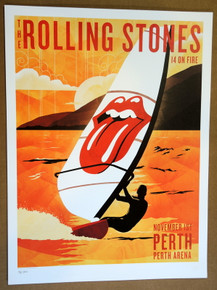 ROLLING STONES - 14 ON FIRE - 2014 - PERTH ARENA - AUSTRALIA - #214/300 - TOUR POSTER - KEITH RICHARDS - MICK JAGGER