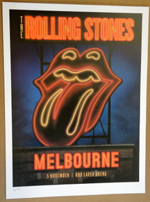 ROLLING STONES - 14 ON FIRE - 2014 - MELBOURNE - AUSTRALIA - #88/300 - TOUR POSTER - KEITH RICHARDS - MICK JAGGER