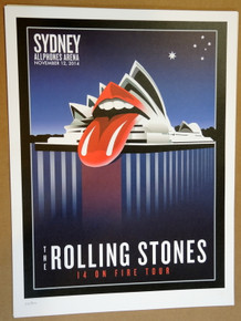 ROLLING STONES - 14 ON FIRE - 2014 - ALLPHONES ARENA - SYDNEY - #88/300 - TOUR POSTER - KEITH RICHARDS - MICK JAGGER