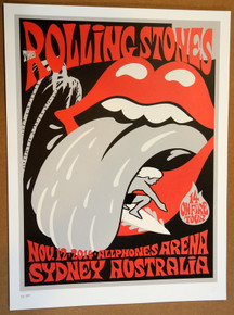 ROLLING STONES - 14 ON FIRE - 2014 - SYDNEY - AUSTRALIA - #214/300 - TOUR POSTER - KEITH RICHARDS - MICK JAGGER