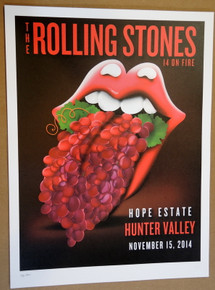 ROLLING STONES - 14 ON FIRE - 2014 - HUNTER VALLEY - AUSTRALIA - #88/300 - TOUR POSTER - KEITH RICHARDS - MICK JAGGER