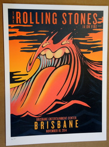 ROLLING STONES - 14 ON FIRE - 2014 - BRISBANE - AUSTRALIA - #88/300 - TOUR POSTER - KEITH RICHARDS - MICK JAGGER