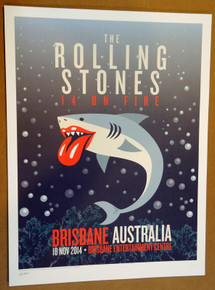 ROLLING STONES - 14 ON FIRE - 2014 - BRISBANE CENTER- AUSTRALIA - #88/300 - TOUR POSTER - KEITH RICHARDS - MICK JAGGER