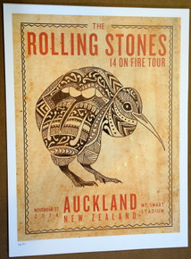 ROLLING STONES - 14 ON FIRE - 2014 - AUCKLAND - NEW ZEALAND - #214/300 - TOUR POSTER - KEITH RICHARDS - MICK JAGGER