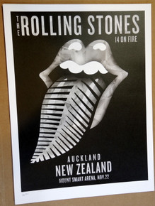 ROLLING STONES - 14 ON FIRE - 2014 - MOUNT SMART - AUCKLAND - #214/300 - TOUR POSTER - KEITH RICHARDS - MICK JAGGER