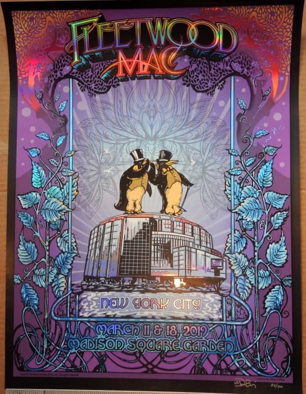 fleetwood mac 2019 foil madison sq garden new york city mike dubois tour poster