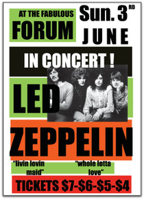 LED ZEPPELIN - 1973 - THE FORUM - LOS ANGELES - TOUR POSTER