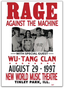 RAGE AGAINST THE MACHINE - 1997 - WU TANG - TINLEY PARK - TOUR POSTER