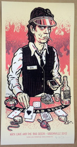 NICK CAVE - GREENVILLE FESTIVAL - BERLIN - RED - 2013  - LARS P. KRAUSE - POSTER -  SILK SCREEN