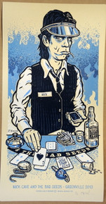 NICK CAVE - GREENVILLE FESTIVAL - BERLIN - BLUE - 2013  - LARS P. KRAUSE - POSTER -  SILK SCREEN