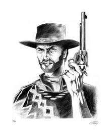 FOR A FEW MORE DOLLARS - CLINT EASTWOOD - MAN WITH NO NAME ART PRINT - STAINBOY