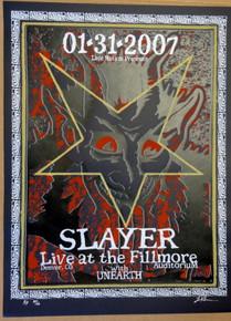 SLAYER - UNEARTH - 2007 - BLACK VARIANT A/P - FILLMORE - DENVER  - LINDSEY KUHN -POSTER -