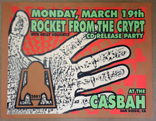 ROCKET FROM THE CRYPT -CASBAH SAN DIEGO - POSTER - LINDSEY KUHN - 2001 - POSTER