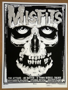 THE MISFITS - THE ATTACK - 2012- STUDIO SEVEN - SEATTLE - ENGINEHOUSE 13 - POSTER -