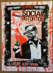 SOCIAL DISTORTION - 2015 - FILLMORE - DENVER - LINDSEY KUHN - POSTER