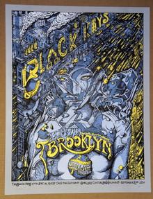 BLACK KEYS - BARCLAYS CENTER - BROOKLYN - PRINTERS PROOF- 2014 - WELKER - POSTER