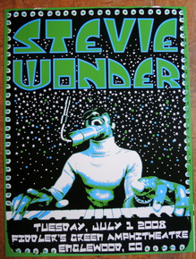 STEVIE WONDER - 2008 - POSTER - COLORADO - FIDDLERS GREEN - DARREN GREALISH