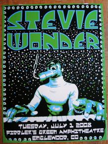 STEVIE WONDER - 2008 - POSTER - COLORADO - FIDDLERS GREEN - DARREN GREALISH