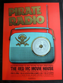 PIRATE RADIO - MOVIE POSTER - 2010 -  DAVE HUNTER - RED VIC - SF - MONDO