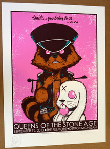 QUEENS OF THE STONE AGE - DETROIT - 2013 - ARTIST PROOF - EMBELLISHED - FILLMORE- JERMAINE ROGERS -  TOUR POSTER