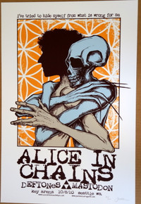 ALICE IN CHAINS - MASTODON - THE DEFTONES -  #32/60 - POSTER -SEATTLE - JERMAINE ROGERS