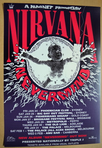 NIRVANA -1992 - NEVERMIND - REISSUE - MELBOURNE - 1992 TOUR POSTER - BEN BROWN