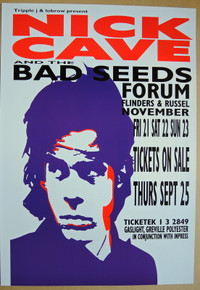NICK CAVE AND THE BAD SEEDS -1997 - THE FORUM- MELBOURNE - 1992 TOUR POSTER