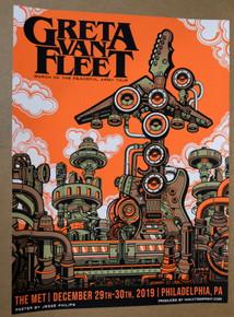 GRETA VAN FLEET - 2019 - THE MET - PHILADELPHIA - JESSE PHILLIPS - TOUR POSTER