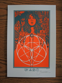 JERMAINE ROGERS - ZOSO - ORANGE - HANDBILL - MINI PRINT - WHITE PAPER - SIGNED
