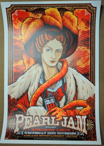 PEARL JAM - 2006 - KINGS OF LEON - ADELAIDE - KEN TAYLOR - TOUR POSTER - VEDDER