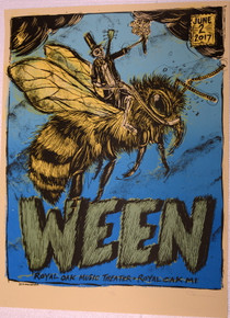 WEEN - 2017 - DAN GRZECA - ROYAL OAK THEATER - POSTER - MICHIGAN - S/N